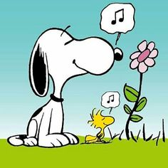 Snoopy and Woodstock smelling a flower and enjoying the music =o)                                                                                                                                                      More