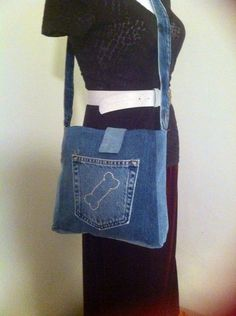 Recycled Blue Jean Purse by jeanoligy on Etsy, $18.90
