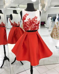 2 piece homecoming dresses,red lace flowers short prom dresses,2017 homecoming dresses,sweet 16 dresses,graduation dresses