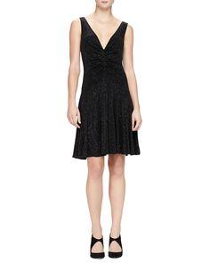 V-Neck Glitter Jersey Dress, Size: 40 IT (4 US), Black Multi - Armani Collezioni
