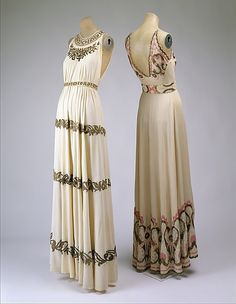 1930s Evening Dress- Sleeveless styles were popular for evening dresses along with v or u-shaped necklines. This dress is  beaded.