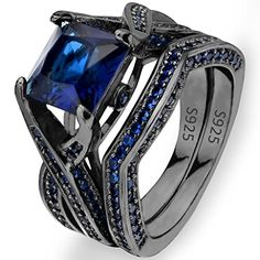 EVER FAITH Black Sterling Silver 925 Princess Cut CZ Solitaire Cocktail Ring Set Sapphire Color *** Read more @ http://www.amazon.com/gp/product/B01B5JI7JU/?tag=ilikeboutique09-20&cd=100716065002