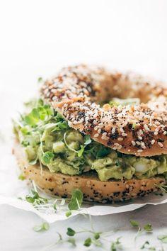 Avocado Egg Salad - no mayo here! just avocados, eggs, herbs, lemon juice, and salt. Especially good on an everything bagel. Just saying. Gluten Free / Vegetarian. | pinchofyum.com