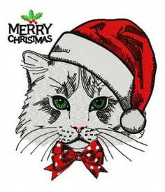 Christmas cat machine embroidery design      . Machine embroidery design. www.embroideres.com