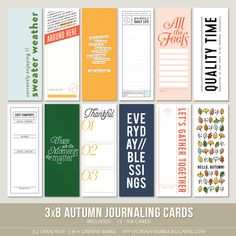 This set of fall themed digital journaling cards is perfect for pocket page protectors, scrapbooking and mini-books. Included in this set are. Travel Journal Scrapbook, Project Life Scrapbook, Diy Scrapbook, Time And Weather, Digital Journal, Digital Papers, Bullet Journal Banner, Page Protectors, Smash Book