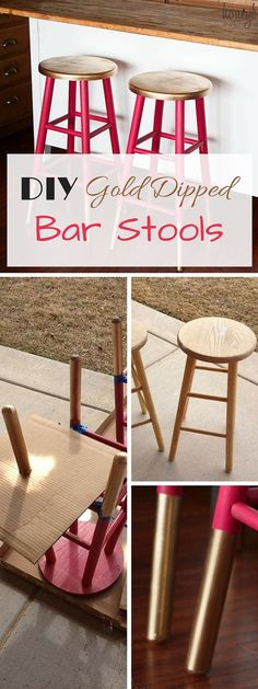 Check out this easy idea on how to make #DIY gold dipped stools #crafts #homedecor #budget #project @istandarddesign