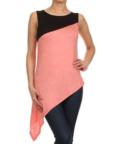 This Coral & Black Asymmetrical Sleeveless Top by J-Mode USA Los Angeles is perfect! #zulilyfinds