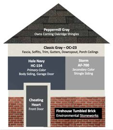 Discover 6 exterior paint color combos for your house and how to pick them for an existing home or new build For this house Benjamin Moore Classic Gray for the trim Hale. Exterior Gris, House Exterior Color Schemes, Exterior Paint Colors For House, Paint Colors For Home, Navy House Exterior, Exterior Siding, Exterior House Paint Colors, Outdoor House Colors, Exterior Design