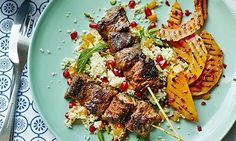 Winter spice: Lamb kebabs marinated in ras el hanout with grilled squash and jewelled couscous