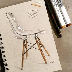 @wrenchbone - #idsketching #sketch #sketchbook #eames #eameschair #transparent