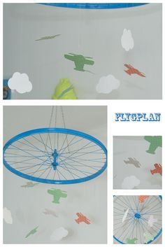 Airplane mobil from bicycle wheel