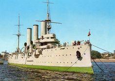 Leningrad. De kruiser Aurora. Oude postkaart.