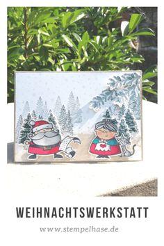 #Weihnachtswerkstatt #NatureSings #stempelhase.de #SignsOfSanta #Weihnacht #stampinup #kraftdernatur ***WERBUNG*** Die Oma freut mit ihrer kleinen Katze auf Weihnachten, hat sie doch Plätzchen für ihre Enkelkinder gebacken. Die kleine streundende Kater sieht schon ganz träumerisch in den Himmel, ob wohl seine Wünsche in Erfüllung gehen? #Stampin' Up #stampinupdemonstrator #stempelhase #zuckersüßeweihnachten #christmascard #karten #selbstgemacht #basteln #stampinupdeutschland #ichverkaufestampinu Homemade Christmas Cards, Christmas Cards To Make, Holiday Cards, Stampin Up Christmas 2018, Stampin Up Weihnachten, Stampinup, Santas Workshop, Card Maker, Merry And Bright