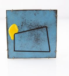 Blue Room Brooch  Description:  Vitreous enamel on steel, enamel paint, silk thread, oxidized silver  Dimensions:  H:2.75 x W:2.75 x D:0.15 Inches
