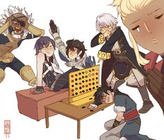 Fire Emblem: Awakening - I don't know what's going on here, but I do know that I like it. Chrom, Frederick, Lon'qu, Robin, Flavia, and Basilio.