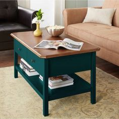 Coffee Table with Lower Shelf and Drawers Extra Storage Space for Reading Material Curved Natural Wood Panel Sofa Table Perfect for Living RoomHome Furniture BONUS Ebook Deep Teal >>> Check out the image by visiting the link. (This is an affiliate link) #FurnitureCoffeeTables