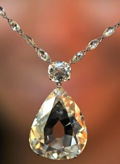 The 'Beau de Sanc' Diamond:  34.98 carats. One of the world's most famous gems, a 35-carat pear-shaped diamond worn by the Queen of France Marie de Medici at her coronation in 1610, is/was expected to fetch up to 4 million at auction in Geneva.