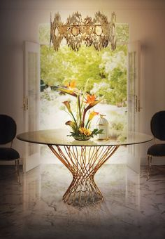 Luxury Dining Room with Golden Features | Gold become a huge trend in the interior design world this year, but the truth is that gold is timeless it is an incredible accessory for any room, it brings a luxurious look to any deco | http://moderndiningtables.net/ #luxuryfurniture #luxurydesign #bespoke #furnituredesign #diningtable #luxuryfurniture #diningroom #interiordesign #moderndiningtable #diningtableideas #gold #goldendetails #goldendiningroom