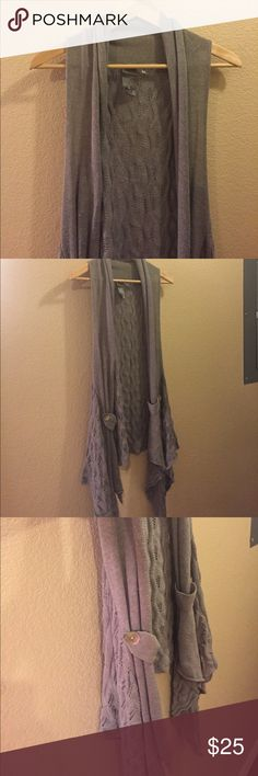 Cute gray shawl Has some abalone buttons on either side, no pockets just little buttons to hold back the fabric. Super cute Tops