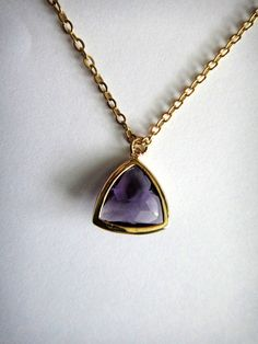 Amethyst Glass Trillion Pendant in Gold  MADE TO by SohoChicJewels, $24.00