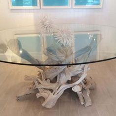 "Driftwood Dining Table Base For 60"" Round Glass Top  Beach House Fascinating Dining Room Table Base For Glass Top Decorating Design"
