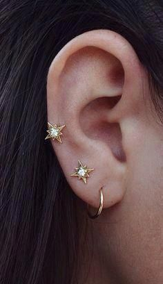 Cute Star and Diamond Earrings, for double piercing Ear Jewelry, Jewelry Box, Jewelry Accessories, Fashion Accessories, Fine Jewelry, Fashion Jewelry, Jewelry Design, Jewlery, Cartier Jewelry
