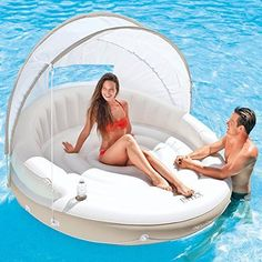 Inflatable Pool Floats And Loungers Island Floating Canopy Intex Accessories New Floating Canopy, Floating Lounge, Floating In Water, Floating Chair, Pool Floats For Adults, Cool Pool Floats, Pool Toys For Adults, Lake Rafts, Pool Floats