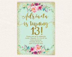 13th birthday invitation for girl pink gold teen birthday party 13th birthday invitation for girl pink gold teen birthday filmwisefo