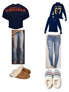 """""""Im from West Virginia, living in Texas, and my dad and his family is from Virginia"""" by preppysoccergirl07 ❤ liked on Polyvore featuring Hollister Co., UGG Australia and Aerie"""