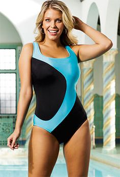 One Piece - Longitude Turq Curvaceous Tank  Great suit for just swimming!  :D  full support bust.