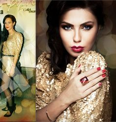Make-up artist Raluca Luca wearing Harper sexy sparkle dress. On the right side Raluca recommends one special make-up for this special dress.