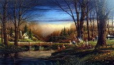 In Terry Redlin's print SPRING FISHING a group of children with their dog share their favorite fishing hole with a family of geese. A nostalgic scene from a simpler time when a few worms and a fishing