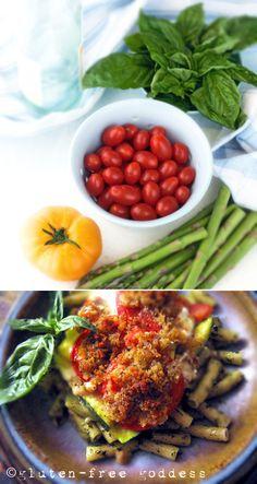 Fresh and beautiful- zucchini tomato basil gratin - Served with gluten-free penne.