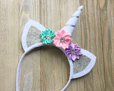 Silver unicorn headband - Aqua pink lavender silver - unicorn lover gift - unicorn hair band - felt unicorn headband - unicorn horn headband