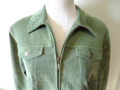 ALFRED DUNNER Womens Zip Up Jacket Coat Lt. Green Corduroy Super Nice Sz 12P