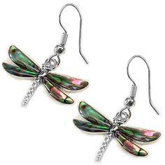 Liav's Dragonfly Fashionable Earrings / Abalone Paua Shel...…