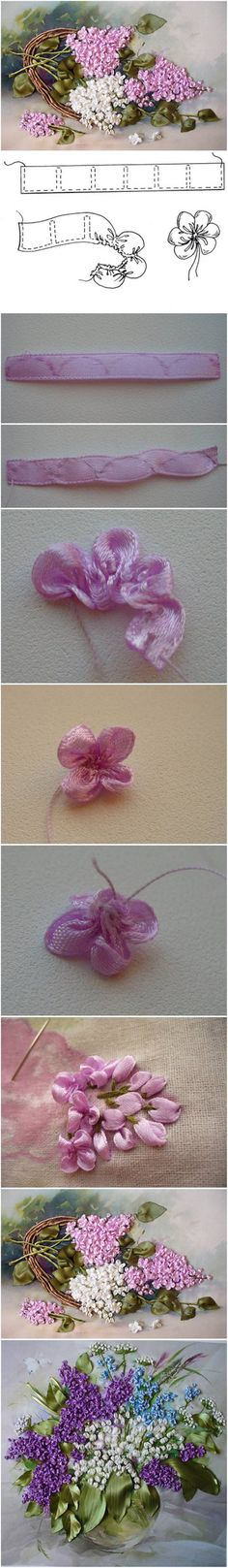 Como fazer fita Bordado Lilac Flores do ofício da flor da fita bordados - / How to Make Embroidery Ribbon Lilac Flowers craft ribbon flower embroidery -