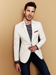 White Blazer with Navy Stripe Sweater | Men's Fashion
