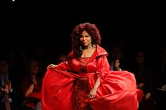 Singer Chaka Khan walks on the runway wearing a Chris March design at The Heart Truth's Red Dress Collection 2012 Fashion Show at Hammerstein Ballroom on February 8, 2012 in New York City.