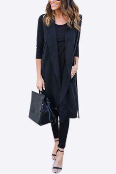 Black Lightweight Lapel Collar Sleeveless Long Trench Coat - US$21.95 -YOINS