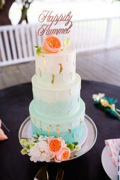 Whimsical ombre and gold leaf cake: http://www.stylemepretty.com/little-black-book-blog/2015/07/23/whimsical-playful-malibu-wedding-with-a-ferris-wheel/ | Photography: Aqua Photo - http://acquaphoto.com/