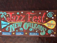 New Orleans wood sign New Orleans artwork New Orleans wall Jazz Blues, Hand Painted Signs, Natural Wood, New Orleans, Wood Signs, Folk Art, Original Paintings, Canvas Art, Cricut
