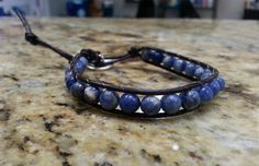 Sodalite single wrap crystal healing bracelet withe Tree of Life button by DoubleDeesigns on Etsy