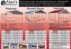 For sturdy metal carports at prices you'll love, you can count on Alan's Factory Outlet! Our affordable carport prices include delivery and setup, and you can customize these structures in many ways. Metal Carports Prices, Carport Prices, Rv Carports, Steel Carports, Portable Carport, Diy Carport, Garage Shop Plans, Building A Garage, Rv Storage