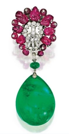 Platinum, Carved Ruby and Diamond Brooch, Cartier, London, With an Emerald Pendant