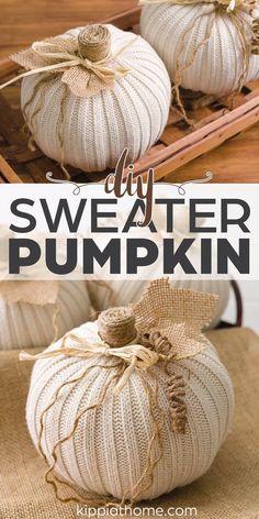 Diy Pumpkin, Fall Pumpkin Crafts, Autumn Crafts, Holiday Crafts, Pumpkin Ideas, Sweater Pumpkins, Diy Crafts For Home Decor, Fall Home Decor, Autumn Decorating