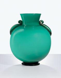 Napoleone Martinuzzi [Italian, 1892-1977] for Zecchin-Martinuzzi Green Vase with Gold Handles, circa