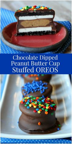 Here's an easy recipe for Chocolate Dipped Peanut Butter Cup Stuffed Oreos. Chocolate Dip Recipe, Chocolate Dipped Oreos, Chocolate Peanut Butter Cups, Homemade Chocolate, Fun Easy Recipes, Best Dessert Recipes, Candy Recipes, Fun Desserts, Delicious Desserts