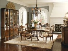 7-pc Kentwood Round Pedestal Dining Table Set by Universal - Faded Mahogany (518657R-SET)