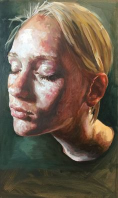 """Kus"" - Susan Schuttelaar, oil on panel {contemporary figurative art blonde female head woman face portrait painting} suzanschuttelaar.com"
